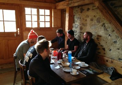 breakfast in mountain hut